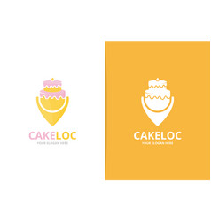 Cake and map pointer logo combination unique vector
