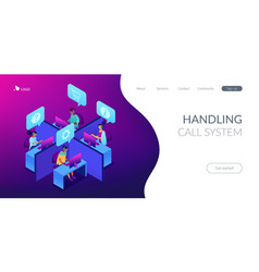 Call center isometric 3d landing page vector