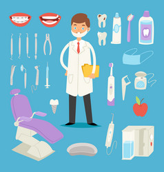 Cartoon dentist doctor character and stomatology vector