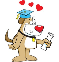 Cartoon dog holding a diploma vector