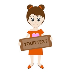 cartoon girl holding a sign for your text vector image