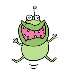 cartoon green germ jumping with happiness vector image