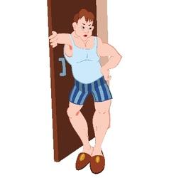 Cartoon man in blue underwear standing near vector image