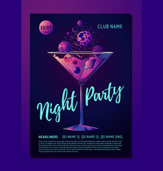cocktail party poster for a night club futuristic vector image