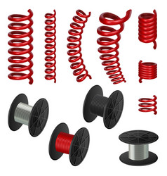 Coil spring cable mockup set realistic style vector