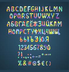 colorful flower patchwork font vector image