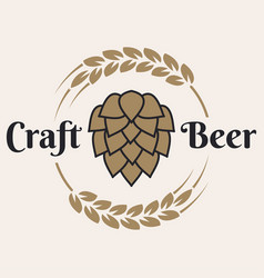 Craft beer logo with beer hop and wheat on white vector