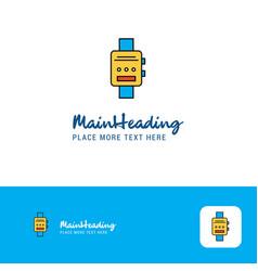 creative watch logo design flat color logo place vector image