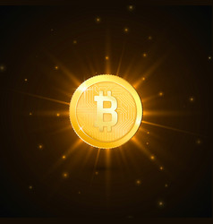 crypto currency golden coin with bitcoin symbol vector image