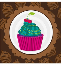 Cupcake sticker on back pattern shapes cupca vector