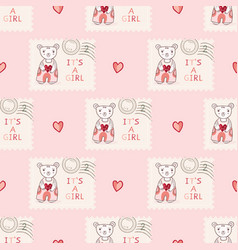 Cute its a girl teddy bear postage stamp hand vector