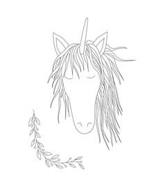 cute unicorn handdrawn vector image