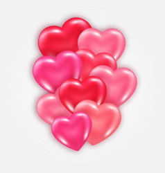 Decorative element with shiny 3d hearts vector