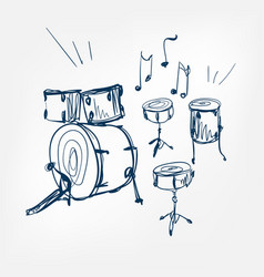 drum set sketch isolated design vector image