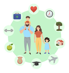 Family infographics successful family icon set vector