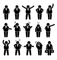 Fat boss or wealthy employer poses and actions vector