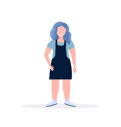 fat obese casual woman standing pose smiling vector image