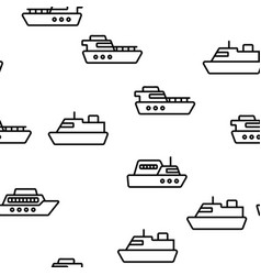 Ferry vessel and ship seamless pattern vector