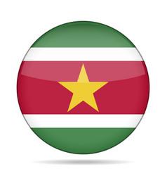Flag of suriname shiny round button vector