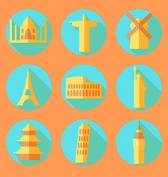 Flat architecture buildings icons vector