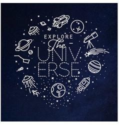 Flat explore universe monogram blue vector
