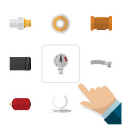 Flat icon industry set of industry conduit vector