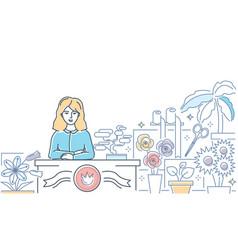 flower shop - modern line design style vector image