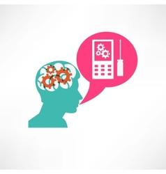 Gear in head cellphone icon vector