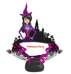 Halloween witch - decorative frame vector