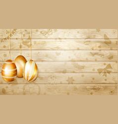 hanging golden easter eggs vector image