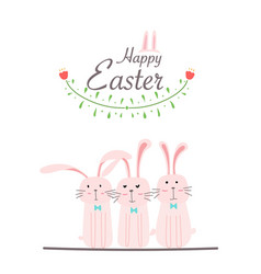 happy easter greeting card hand drawn bunny vector image