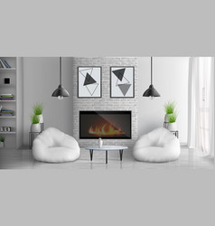 House living room with fireplace interior vector