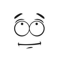 Indifferent emoticon isolated line art emoji face vector