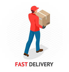 Isomeric fast delivery concept delivery man vector