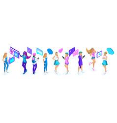 Isometry big set of adolescent girls generation z vector