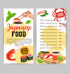 Japanese food menu design vector
