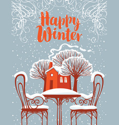 landscape with snow-covered outdoor cafe and house vector image