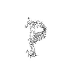 Letter p floral ornament vector