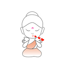 Little buddha blowing kisses vector