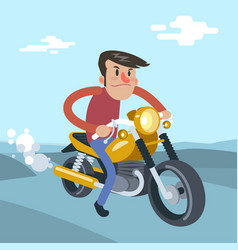 man ride on motorcycle cartoon flat vector image