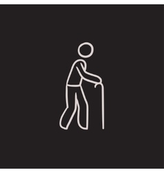 Man with cane sketch icon vector