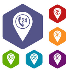 Map pointer with phone handset icons set hexagon vector