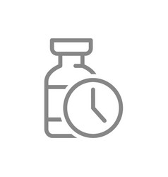 Medical ampoule and watch line icon vaccination vector