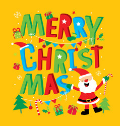 merry christmas happy new year santa claus vector image