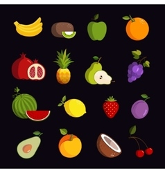 Modern fruit icon set vector