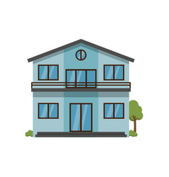 Modern light blue two-story house with balcony vector