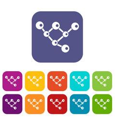 Molecule structure icons set vector