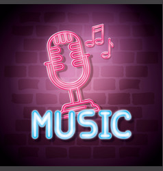 Music iluminated neon label vector