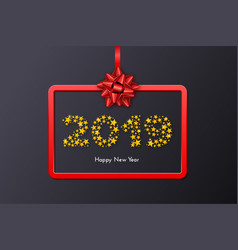 new year 2019 gift card with red frame and bow vector image