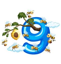 Nine bee with number nine vector